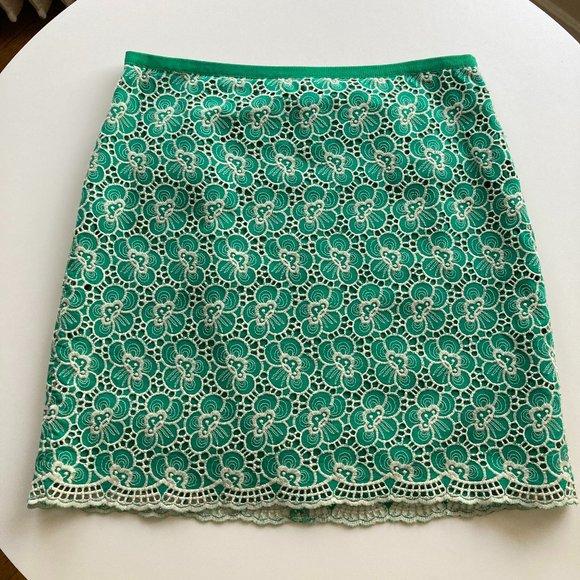 J. Crew Green Lace Skirt